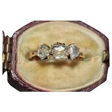 Antique Rose Cut Diamond Trilogy Engagement Ring Circa 1910