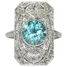 Art Deco Blue Zircon Diamond Ring Circa 1920