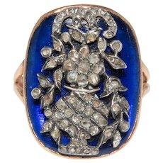 Stunning Giardinetti Blue Glass Diamond Ring Circa 1800