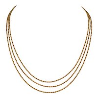 Victorian 55 Inch 18 Karat Gold Rope Link Longuard Chain Necklace Circa 1890