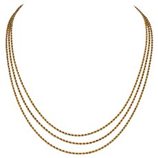 Victorian 55 Inch 18 K Gold Rope Link Longuard Chain Necklace Circa 1890