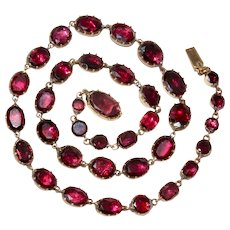 Georgian Garnet Gold Riviere Necklace Circa 1790