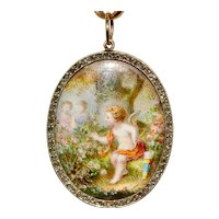 "Antique Victorian Porcelain Miniature And Diamond ""Cupid In The Rose Garden"" Conversion Pendant Circa 1880"