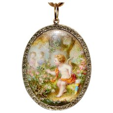 "Antique Victorian Porcelain Miniature And Diamond ""Cupid In The Rose Garden"" Conversion Pendant Circa 1880"