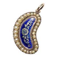 Antique Georgian Lucky Bean Blue Enamel Pearl Conversion Pendant