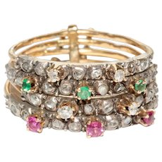 Vintage Diamond Emerald And Ruby Harem Ring