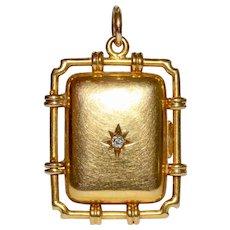 Victorian 15 Karat Gold And Diamond Bamboo Motif Locket Pendant Circa 1890