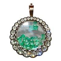 Georgian Paste And Natural Emerald Shake Locket Circa 1830