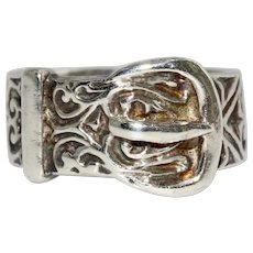 Vintage Silver Buckle Ring Dated London 1978