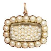 Georgian Natural Seed Pearl Shake Locket Pendant Dated 1834