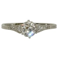 Edwardian Platinum Solitaire Engagement Diamond Ring Circa 1915