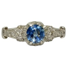 Art Deco Sapphire And Diamond Solitaire Engagement Ring Circa 1920-1930