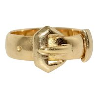 Victorian Buckle Ring 18 kt Gold Dated Chester 1894
