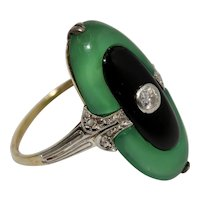 Stunning Art Deco Diamond Onyx And Green Chalcedony Ring Circa 1920