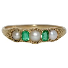 Victorian Emerald And Pearl Half Hoop Stacking Band Ring 18 kt Circa 1860