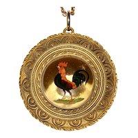 Victorian Crystal Reverse Intaglio Of Rooster Circa 1870