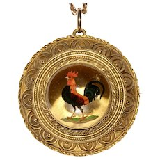 Victorian Crystal Reverse Intaglio Of Rooster Circa 1870