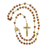 Antique 18K Solid Gold French Glass Rosary circa 1890-1900