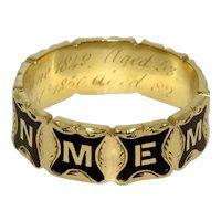 Antique Memorial Mourning Enamel Band Ring Dated Birmingham 1850