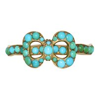 Fabulous Georgian Turquoise Bow Band Ring Circa 1830