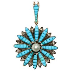 Fabulous Antique Turquoise Diamond And Pearl Star Pendant Circa 1850