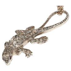 Victorian Diamond Ruby Salamander Pendant Charm Brooch Circa 1870