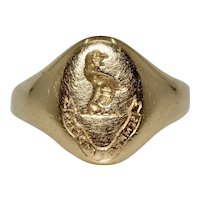 Victorian English 18K Signet Ring Dated Birmingham 1859