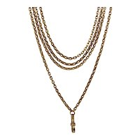 Victorian 9K 62 Inch 42.2 g Longuard Chain Necklace Circa 1880-1890