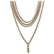 Victorian 9K 62 Inch 42.2 g Longuard Chain Necklace Circa 1880-1890
