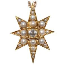 Victorian Diamond Natural Pearl Star Pendant Charm Circa 1880-1890
