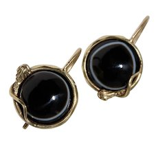 Victorian Snake Banded Agate Earrings 15K Gold Circa 1860-1870