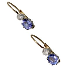 Vintage Lilac Sapphire Diamond Dormeuse Earrings Circa 1930-1950