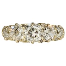Victorian 2.68 Carats Old Mine Cut 5 Stone Diamond Carved Half Hoop Stacking Ring Circa 1880-1890