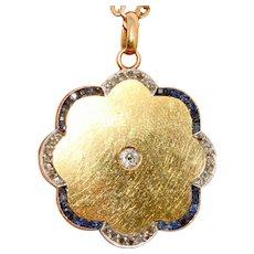 Edwardian Natural Sapphire Diamond Locket 15K Gold Circa 1900