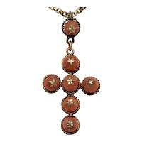 Antique French 18K Coral Cross Pendant Circa 1840