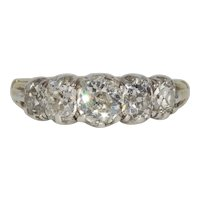 Fabulous Georgian 2.47 ct Diamond 5 Stone Half Hoop Stacking Old Mine Cut Ring Circa 1830
