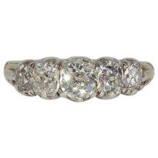 Fabulous Georgian 2.47 ct Diamond 5 Stone Half Hoop Stacking Old Mine Cut Ring Circa 1830