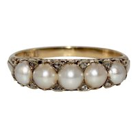Victorian Natural Pearl Diamond 5 Stone Half Hoop Stacking Ring Circa 1860-1870