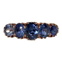 Stunning Victorian Natural No Heat Sapphire 5 Stone Half Hoop Stacking Ring circa 1880