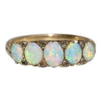 Exceptional Victorian Opal Diamond Half Hoop Stacking Ring Circa 1880