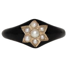 Antique Mourning Pearl Star Black Enamel Ring Dated 1877
