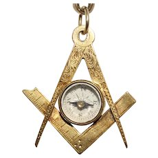 Antique Masonic Square And Compass Bloodstone Pendant Charm Dated 1876/8 15 K Gold