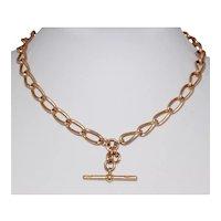 Antique 60.9 Grams Solid 15 K Gold Albert Watch Chain Necklace Dated Birmingham 1903