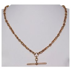 Victorian Lovers Knot 17.75 Inch 9K Rose Gold Albert Watch Chain Necklace Dated 1900