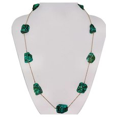 Stunning Arts And Crafts Natural Turquoise Necklace Circa 1900-1910