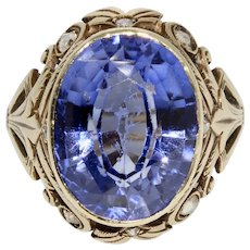 Art Deco Polish Synthetic Sapphire and Rose Diamond Ring Dated 1921-1930