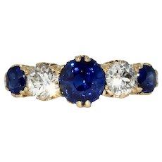 Stunning Victorian Natural No Heat Sapphire Diamond 5 Stone Half Hoop Stacking Ring Circa 1890