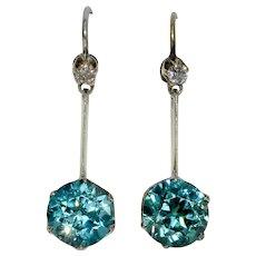 Art Deco Blue Zircon And Diamond Drop Dangle Earrings