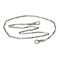 Fine Antique Platinum Albert Chain Necklace 16.5 Inches
