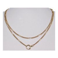 Antique 15K Gold 30.5 Inch Figaro Link Chain Necklace